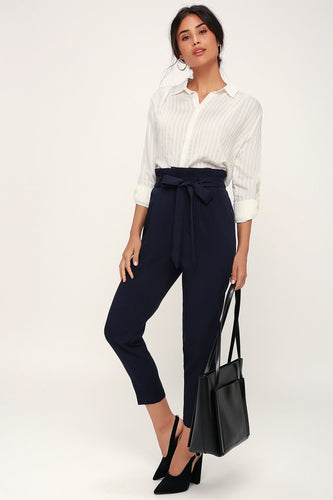 LULUS - With Confidence Navy Blue Paper Bag Waist Pants