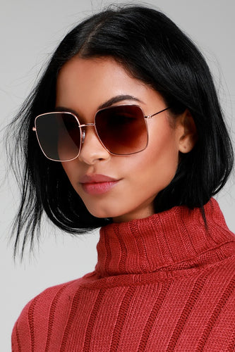 M Squad Rose Gold and Brown Square Sunglasses