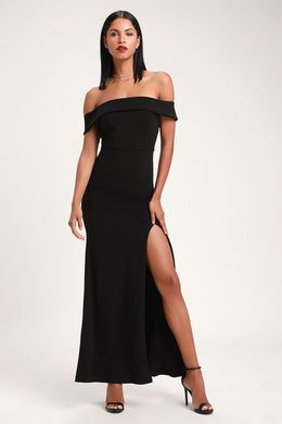 LULUS - Aveline Black Off-The-Shoulder Maxi Dress