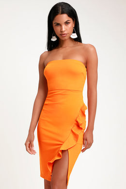 LULUS - Anika Ruffled Strapless Bodycon Dress