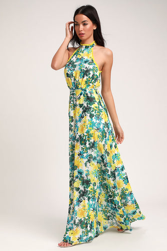 LULUS - What A Wonder White Floral Print Halter Maxi Dress