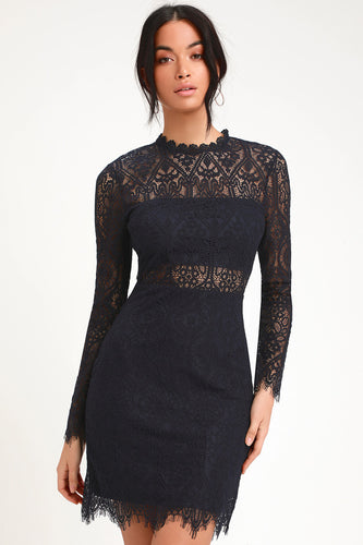 LULUS - Appetite For Seduction Lace Long Sleeve Dress