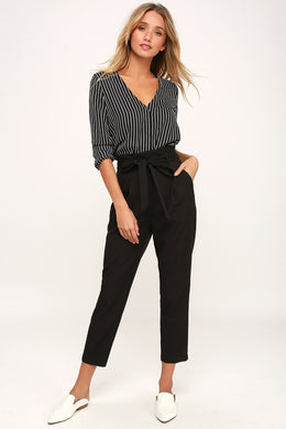 LULUS - With Confidence Black Paper Bag Waist Pants