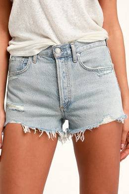 AGOLDE - Parker Bitter Light Wash Distressed High-Waisted Shorts