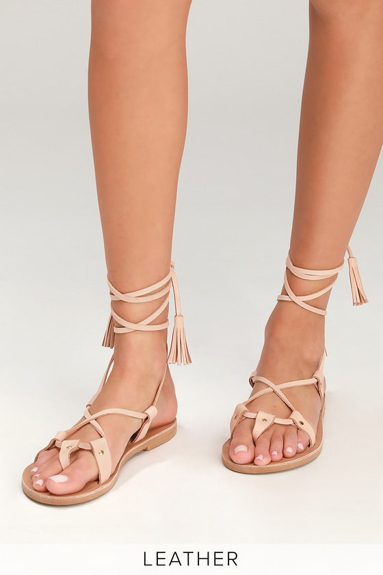 LULUS - Kos Leather Flat Lace-Up Sandals