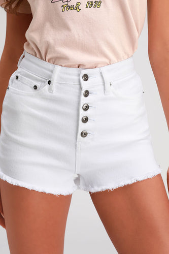 JACK BY BB DAKOTA - Down to Business White High-Waisted Cutoff Denim Shorts