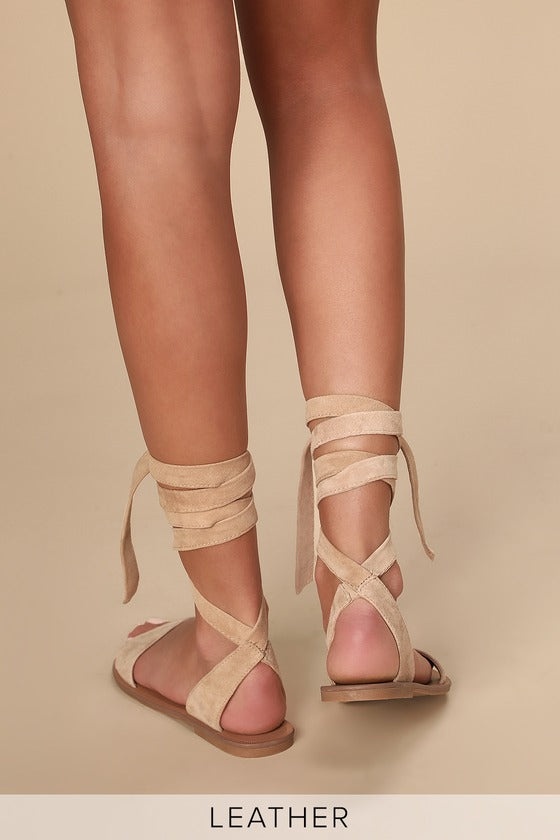 STEVE MADDEN - Reputation Leather Lace-Up Flat Sandals
