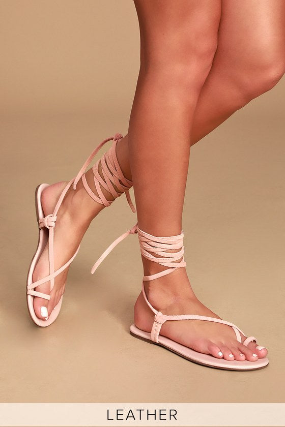 LULUS - Taylen Leather Flat Lace-Up Sandals