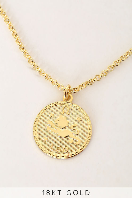 What's Your Sign? 18k Gold Leo Necklace