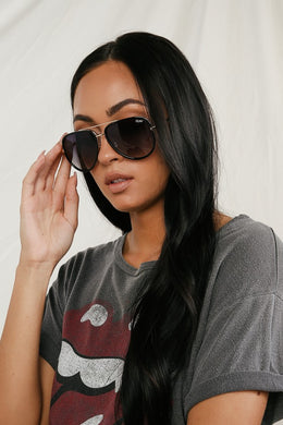 Quay - All In Black and Gold Aviator Sunglasses