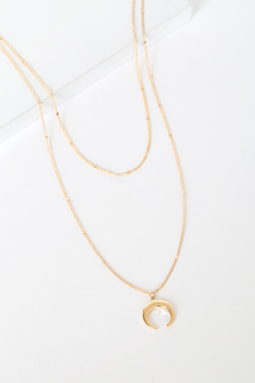 Hopeful Moments Gold Moon Layered Necklace