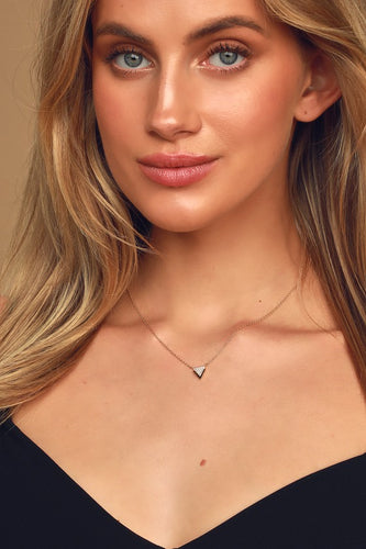 Sweet Harmony Gold Rhinestone Triangle Necklace