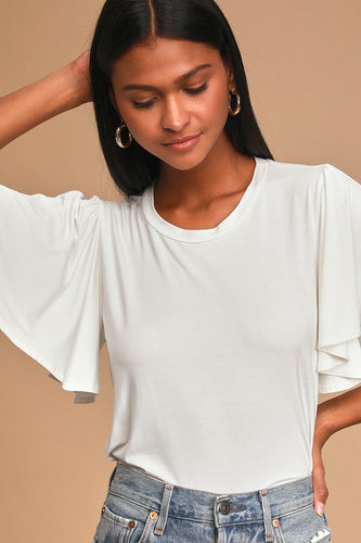 Say It Right Ivory Flutter Sleeve Tee