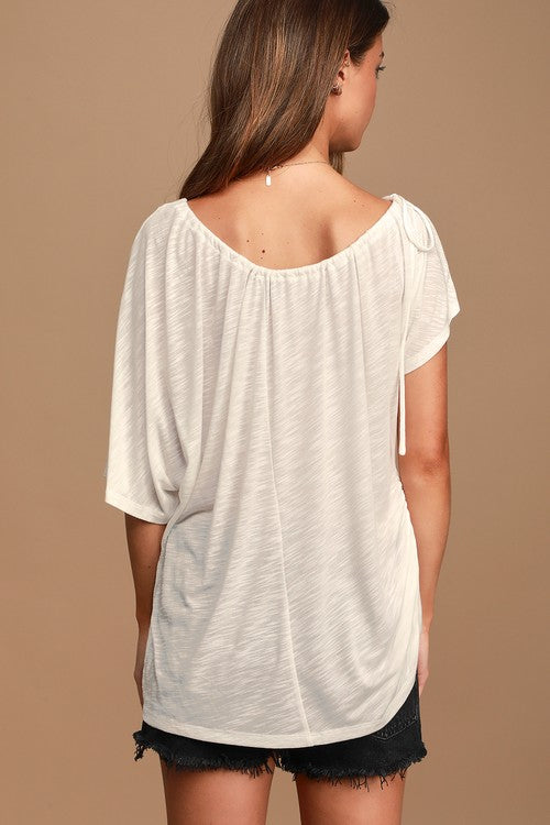 Weekend Vibes White One-Shoulder Drawstring Tee