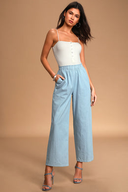 LULUS - Stroll with Me Light Blue Chambray Wide-Leg Pants