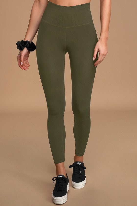 FREE PEOPLE MOVEMENT - Good Karma Washed Olive Green Low Impact Leggings