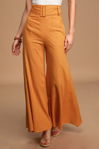 LULUS - Make My Move Orange Belted Wide-Leg Pants