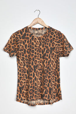 PRINCE PETER-Wilder Washed Brown Leopard Print Tee