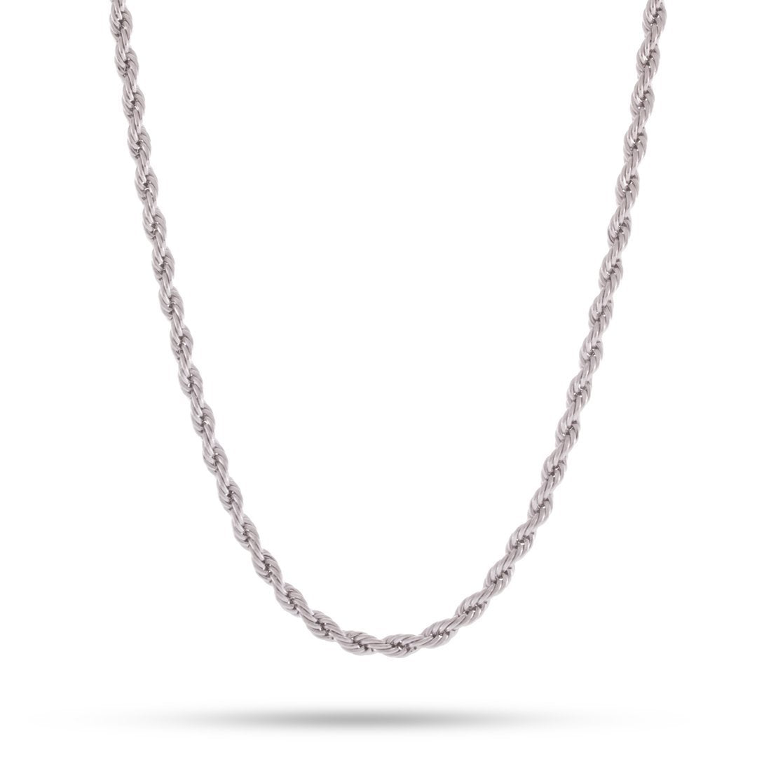 4mm, White Gold Stainless Steel Rope Chain
