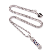 The White Gold CZ Barber Shop Pole Necklace
