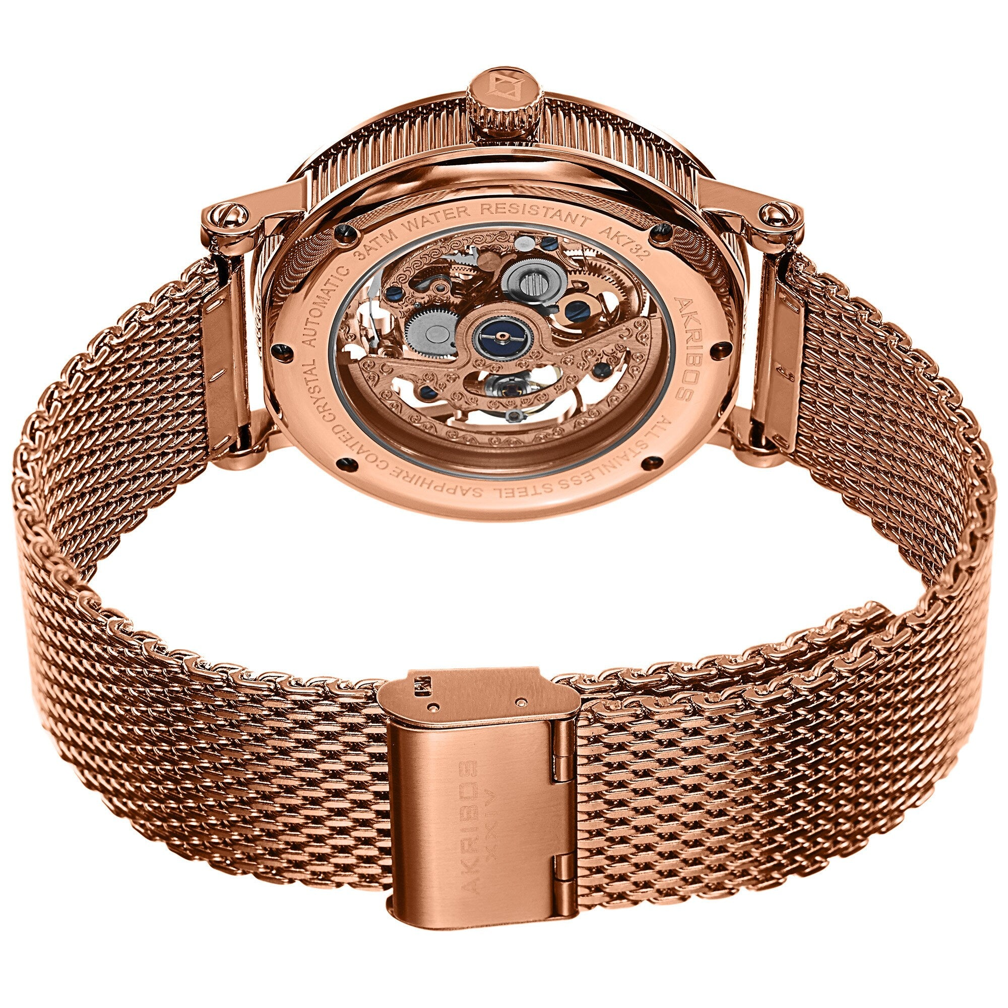 AKRIBOS XXIV - Men's Mesh Stainless Steel Automatic Rose-Tone Bracelet Watch