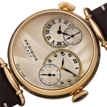 AKRIBOS XXIV - Men's Quartz Dual Time Leather Gold-Tone Strap