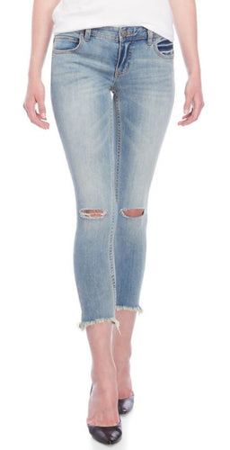 FREE PEOPLE - Distressed Low-Rise Skinny Jeans