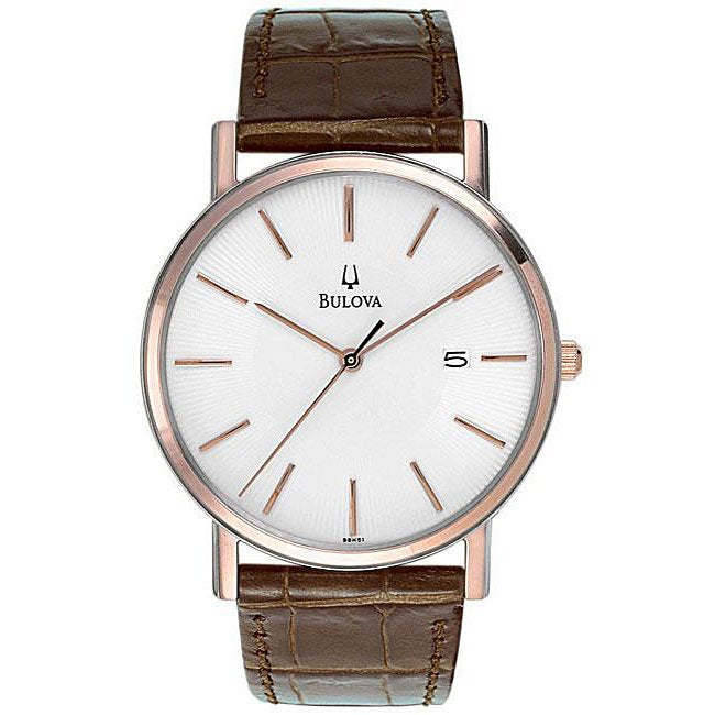 BULOVA - Men's Brown Leather Quartz Watch with White Dial