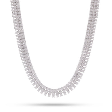 3 Row White Gold Tennis Necklace
