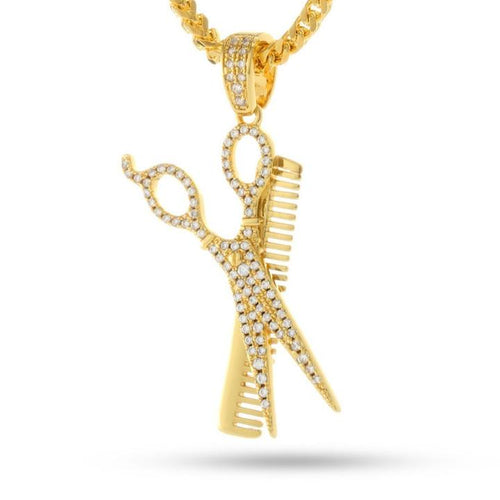 14K Gold Barber Shop Comb and Scissors Necklace