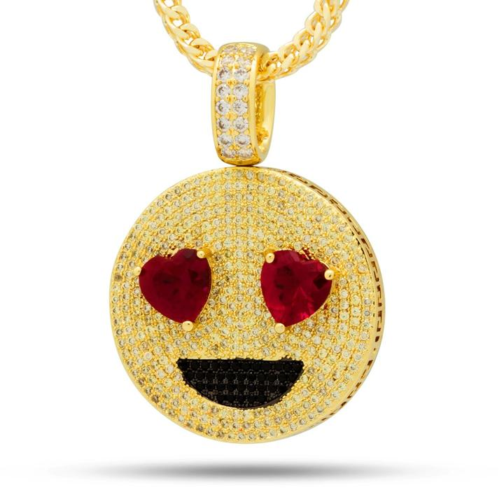 The Heart Eyes, Angry Face Emoji Necklace