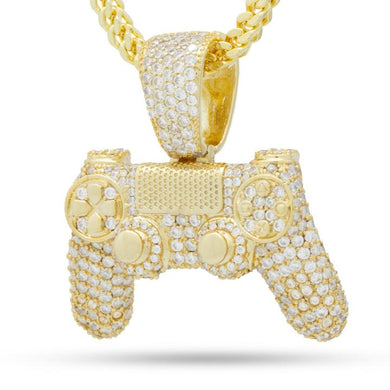 PlayStation Iced Out Gold Classic Controller Necklace