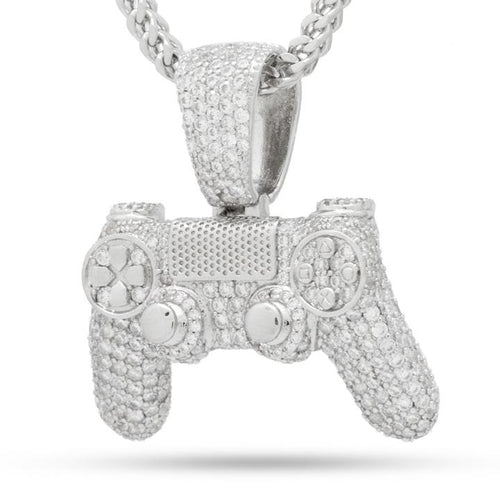 PlayStation Iced Out White Gold Classic Controller Necklace