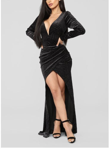 NOVA WEAR - Black Tie Formal Velvet Dress