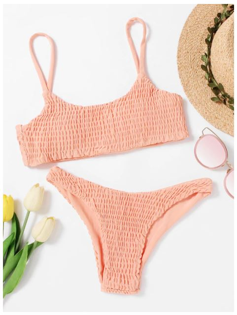 EWMOR - Smocked Cami With High Leg Bikini Set