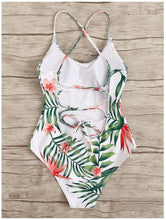 EWMOR - Tropical Print Lace-Up Back One Piece Swimsuit