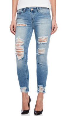 YMI - Distressed Mid-Rise Ankle Jeans
