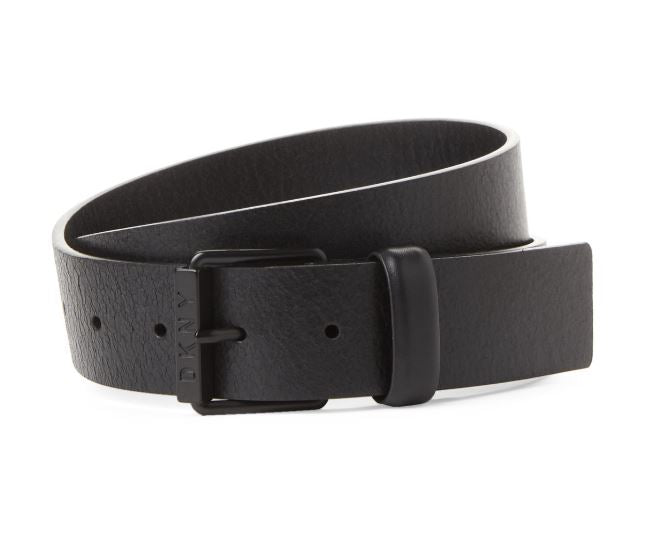 DKNY - Black Crinkled Leather Belt