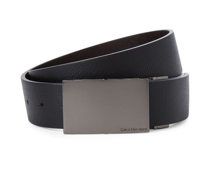 CALVIN KLEIN JEANS - Black & Brown Reversible Lines Leather Belt