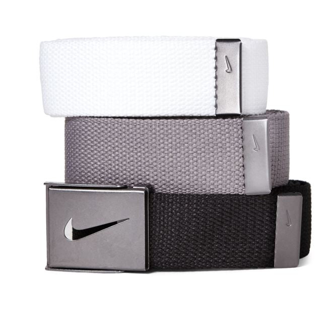 NIKE - 3-Pack White, Grey & Black Web Belts