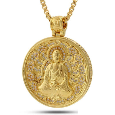 14K Gold Buddhist Medallion Necklace