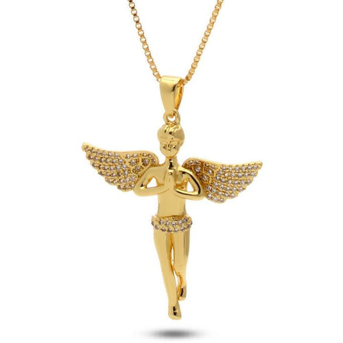 14K Gold Mini Praying Angel Necklace
