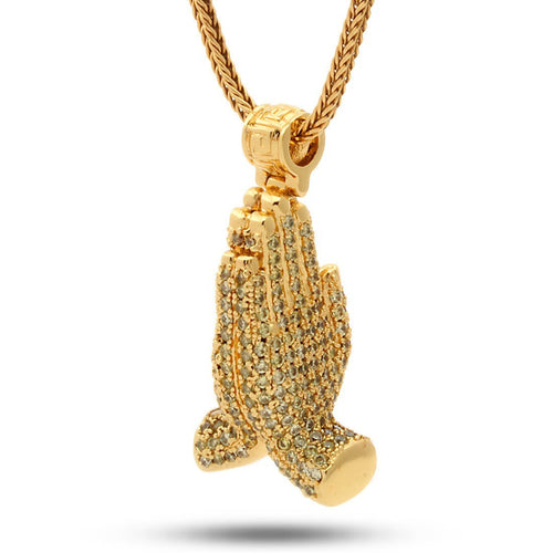 14K Gold Worship Hands Emoji Necklace