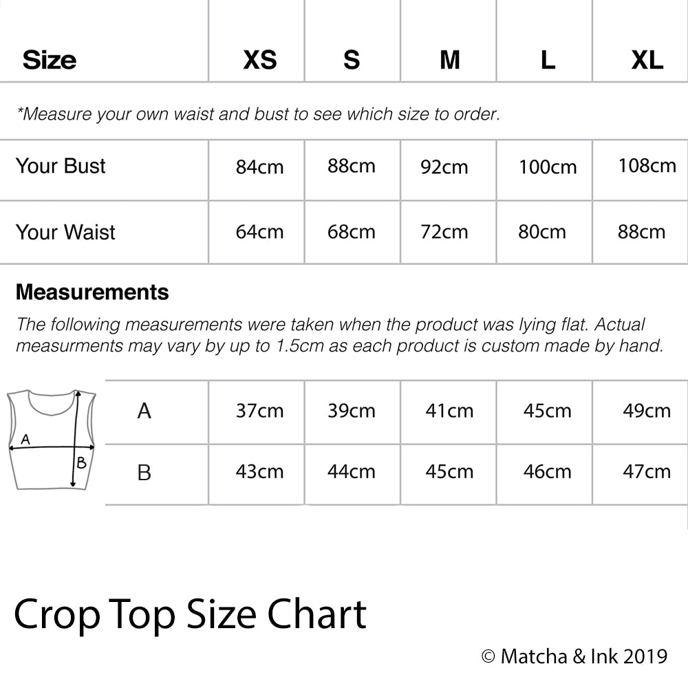 ©matcha and ink crop top size chart