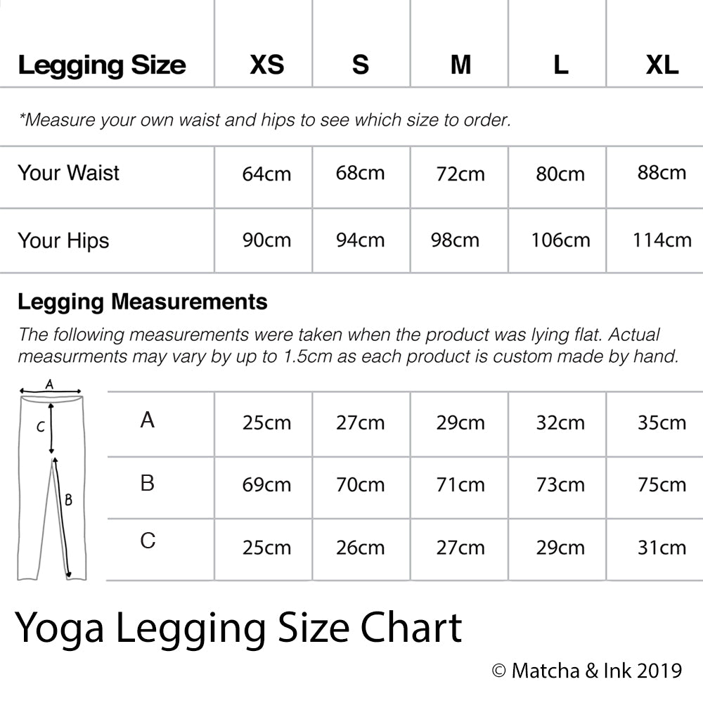 matcha and ink yoga pants size chart