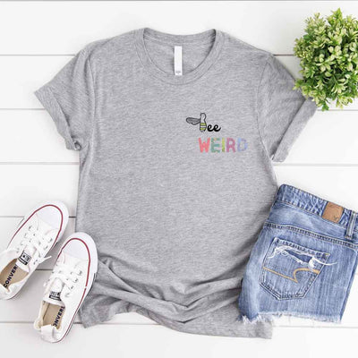 Grey funny t shirt with cute bee weird slogan and bee illustration