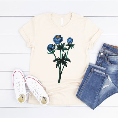 Cream women's floral t shirt with blue vintage flower illustration
