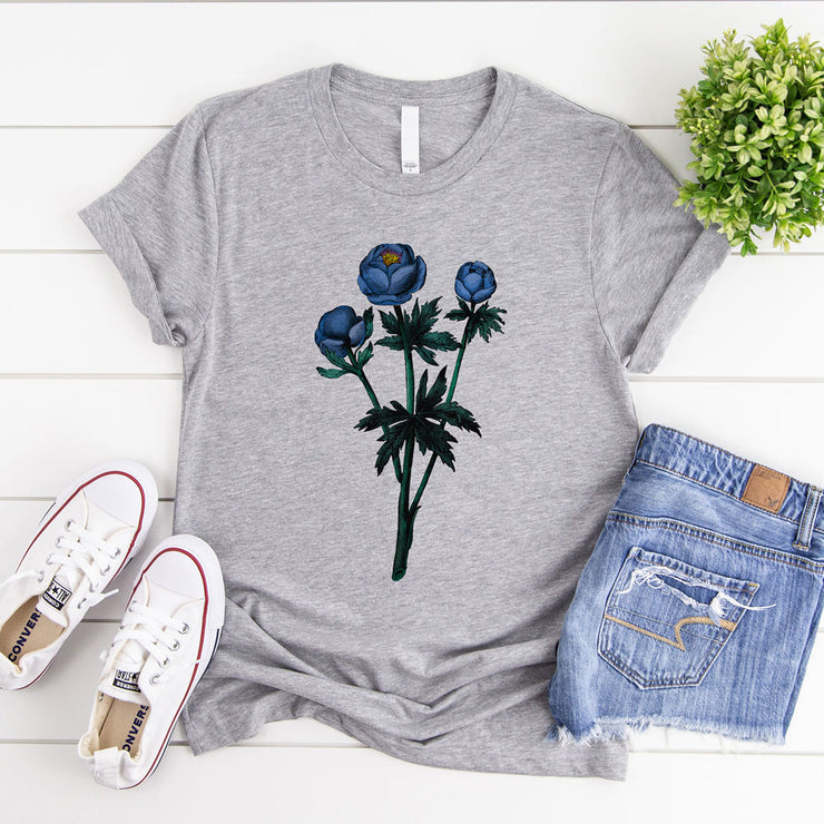 Grey women's floral tshirt with blue vintage flower illustration