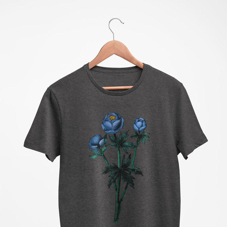 Charcoal women's floral tshirt with blue vintage flower illustration