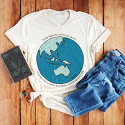 Cream climate emergency t-shirt with colourful Australia centred earth image
